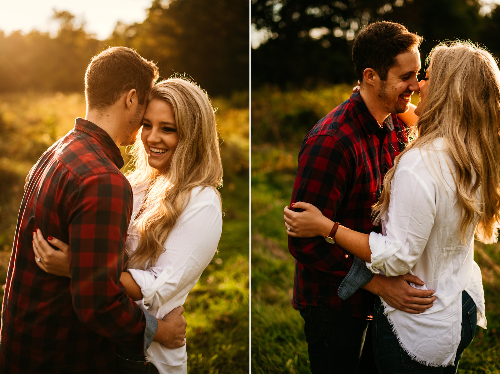 couple laughing with beautiful backlight